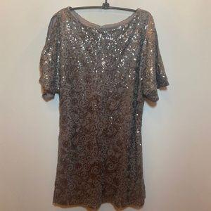Scarlett Sequin Dress Tan Bronze Size 10